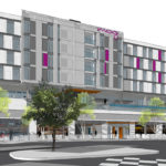 An oblique rendering of the front of AXIS/GFA's Moxy Hotel Tucson