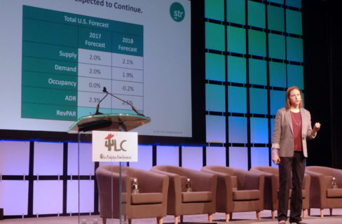 Ali Hoyt of STR addresses attendees during the Industry Overview session Day One of The Lodging Conference 2017. Photo credit to Stephanie Ricca via Hotel News Now.
