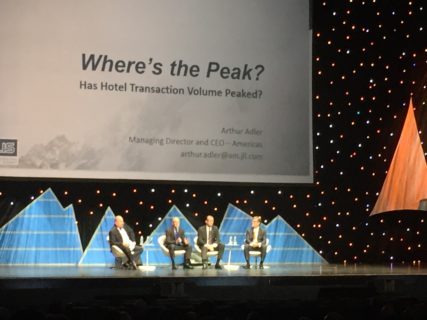 "AXIS Architecture + Design, leaders in hotel and hospitality design and renovation, taking in The Americas Lodging Investment Summit keynote session ""Where's the Peak?"""