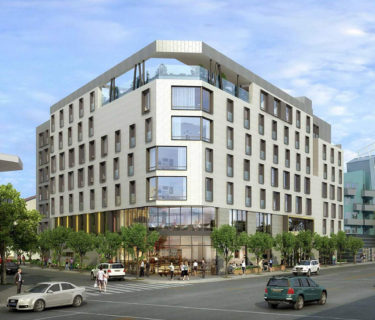 Los Angeles hotel architects AXIS/GFA Architecture + Design's rendering of their North Hollywood hotel project