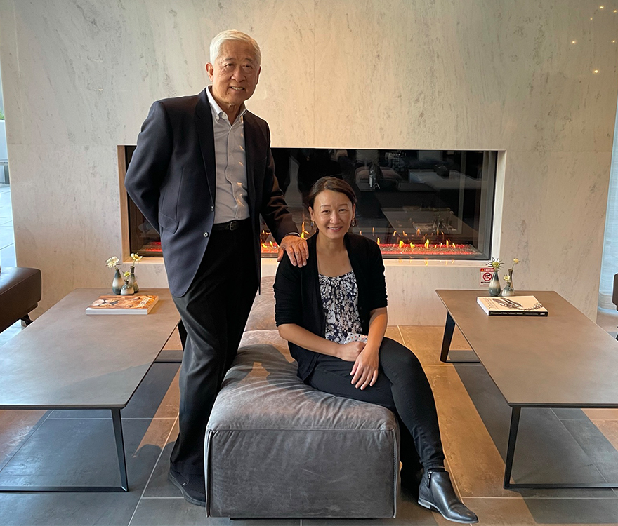Hotel architects Gene Fong and Lana Ung at the opening of the AC Hotel Palo Alto, a dual-branded hotel designed by AXIS/GFA Architecture + Design