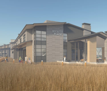 A rendering of the entrance of the Hyatt Place Half Moon Bay, a hotel designed by California architect AXIS/GFA